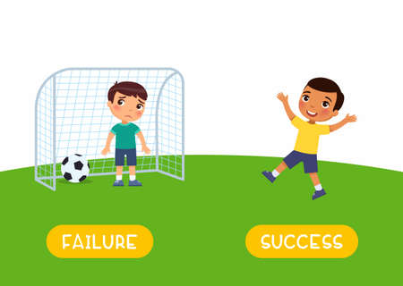 Antonyms concept, SUCCES and FAILURE. Boys playing soccer. Educational flash card with little child template. Word card for english language learning with opposites. International happy and sad boys