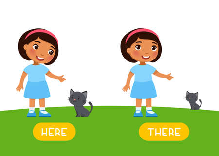 Here and there antonyms word card, Opposites concept. Flashcard for English language learning. Little dark skin girl points to the kitten. Small cat in the distance and near to the child Иллюстрация