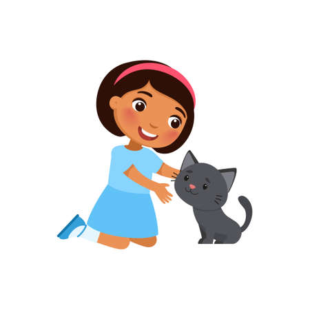 Cute little  girl and kitty are sitting. Happy dark skin school or preschool kid and her pet playing together. Funny cartoon characters. Vector illustration. Isolated on white background.