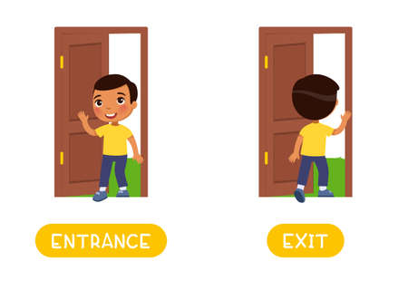 Entrance and exit word card, Opposites concept. Flashcard for English language learning. Little dark skin boy walks in an open door, child walks out into the yard.