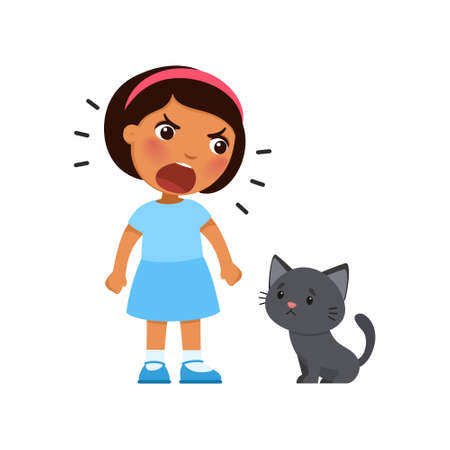 Little girl yells at a sad kitten. Psychology - concept of aggressive treatment of pets. Dark skin child and black cat. Vector illustration. Isolated on white background. Иллюстрация