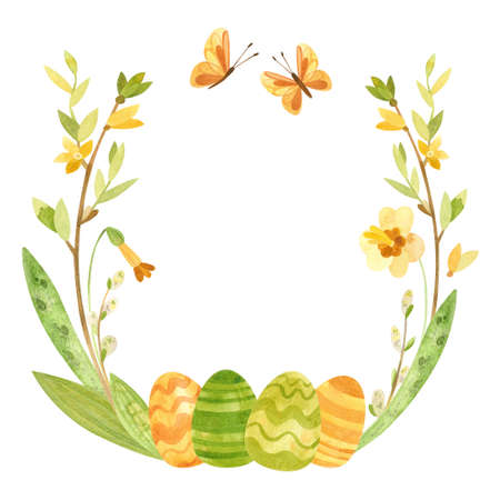 Spring wreath with Easter eggs, pussy willow, feathers and flowers. Easter themed template for postcards, posters, banners. Vintage style, Watercolor clipart on white background 스톡 콘텐츠