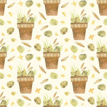 Easter seamless pattern. Template with Easter quail eggs and feathers, rustic style. Watercolor clipart for eco farm products.