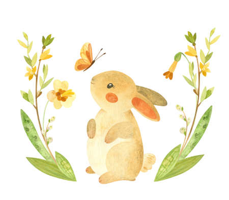 Cute Easter Bunny with butterfly and flower wreath. Easter or children's themed birthday card template with a rabbit and spring flowers. Watercolor clipart for cards, posters, banners