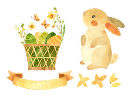 Easter clipart set with cute rabbit. Baby bunny, wicker basket with Easter eggs, ribbon for text and spring flowers. Watercolor clipart illustrations in rustic style Фото со стока