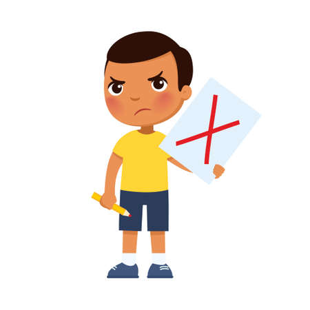 Disgruntled little Mexican boy drew a red cross on the paper, symbol of rejection. Protesting child, psychology. Cartoon character Иллюстрация