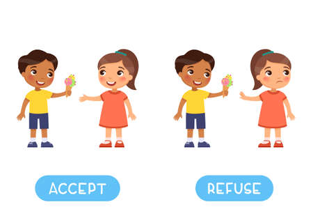 Accept and refuse antonyms word card vector template, Opposites concept. Flashcard for English language learning. Little boy gives an ice cream to a girlfriend Иллюстрация