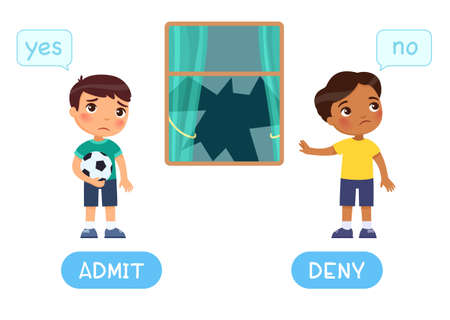 Admit and deny antonyms word card, Opposites concept with International kids. Flashcard for English language learning. Sad boy with a ball broke a window, the second child denies guilt.