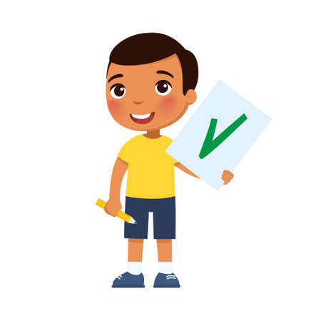Joyful Mexican child holds a paper with a check mark - a symbol of approval. Cartoon character