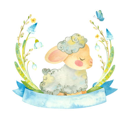 Cute lamb with blue ribbon and flower wreath. Easter or children's themed birthday card template with a sheep and spring flowers. Watercolor clipart for cards, posters, banners