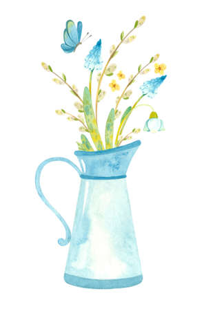 Blue jug with spring flowers, pussy willow and butterfly.Themed template for Easter cards, posters, banners. Watercolor clipart on white background