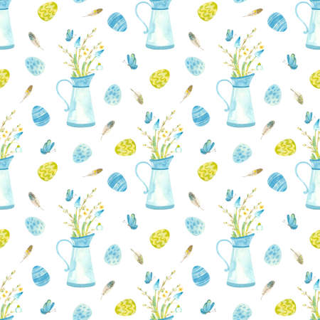 Easter seamless pattern. Template Blue jug with spring flowers, pussy willow and butterflies. Watercolor clipart  in blue-green palette on white background 스톡 콘텐츠