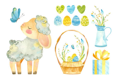Easter clipart set with cute sheep. Baby lamb, wicker basket with Easter eggs, spring flowers. Watercolor colorful clipart on white background