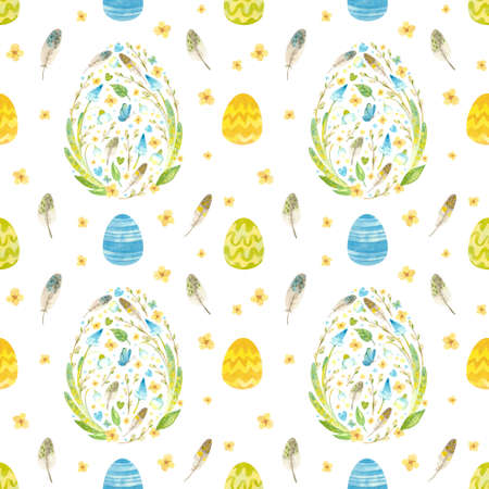Spring seamless pattern. Template with Easter eggs, pussy-willow, flowers and feathers. Watercolor colorful clipart on white background