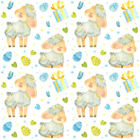 Seamless pattern with baby sheep. Easter template with cute lamb, Easter eggs and butterflies in blue-green palette. Watercolor clipart on white background