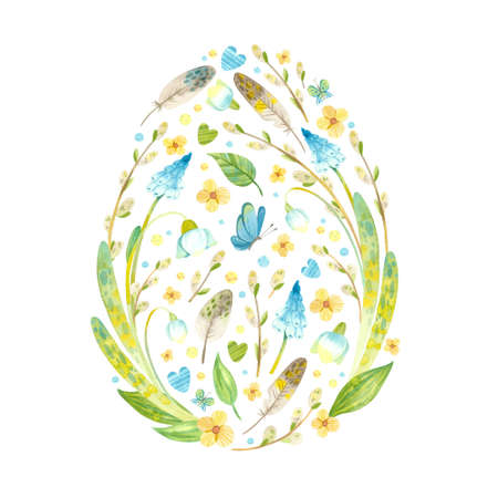 Easter card in the shape of an egg with Easter eggs, pussy willow, feathers and flowers. Thematic template for postcards, posters, banners. Watercolor clipart on white background