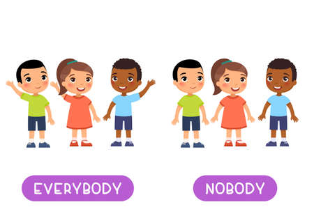 Everybody and nobody antonyms word card, Opposites concept. Flashcard for english language learning. International children hold their hands up in agreement, no one raised their hand.