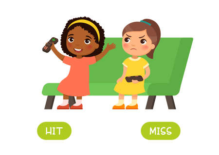Hit and miss antonyms word card, Opposites concept. Flashcard for english language learning. Little African girl won a computer game and is happy, another European child is unhappy about losing