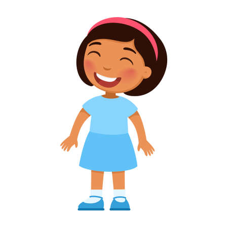 Laughing little girl. Cheerful Mexican child with a smile on face standing alone cartoon character. Lonely kid in good mood, person happy expression isolated on white background