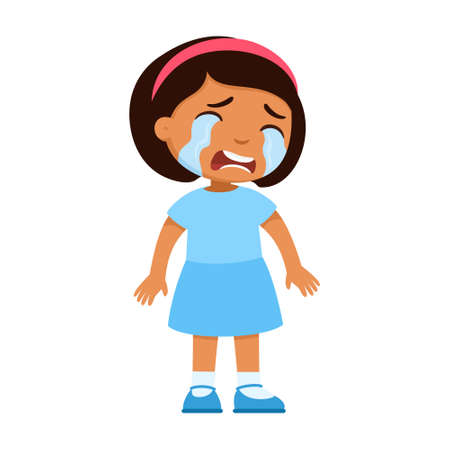 Crying sad little Mexican girl. Upset child with tears on face standing alone cartoon character. Lonely dark skin kid in bad mood, person unhappy expression isolated on white background