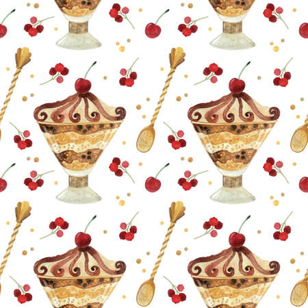 Seamless pattern - watercolor ice cream with berries on a white  background. Product clipart. Premium dessert food, hand drawn illustration.
