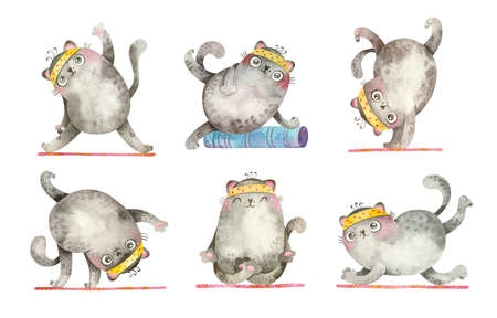 Yoga Cats. Cute characters in various asanas. Mascots for sports goods, yoga courses. Watercolor hand drawn illustrations.
