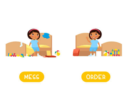 Opposites concept, MESS and ORDER. Childish word card for English learning vector template. Flashcard with antonyms. Little dark skin girl in tidy and messy bedroom