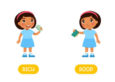 RICH and POOR antonyms word card, Opposites concept. Flashcard for English language learning. Little girl with banknotes in his hands, Dark skin child with an empty wallet