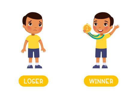 Loser and winner antonyms word card, Opposites concept. Flashcard for English language learning. Lucky winner - dark skin little boy with the medal and the sad little boy lost.
