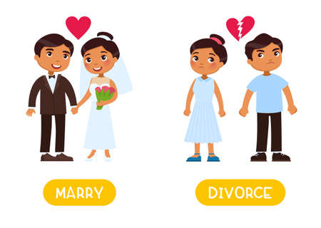 Opposites concept, MARRY and DIVORCE. Word card for English language learning. Flashcard with antonyms for children.