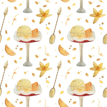 Seamless pattern - watercolor Ice Cream with orange and with physalis on a white background. Product clipart. Premium dessert food, hand drawn illustration. 스톡 콘텐츠