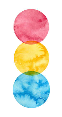 Pansexual pride - watercolor clipart. LGBT art, rainbow clipart for pansexual stickers, posters, cards. Pan pride Фото со стока - 165104519