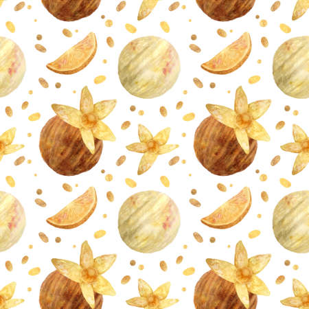 Seamless pattern - watercolor Ice Cream Balls with orange and with physalis on a white background. Product clipart. Premium dessert food, hand drawn illustration.