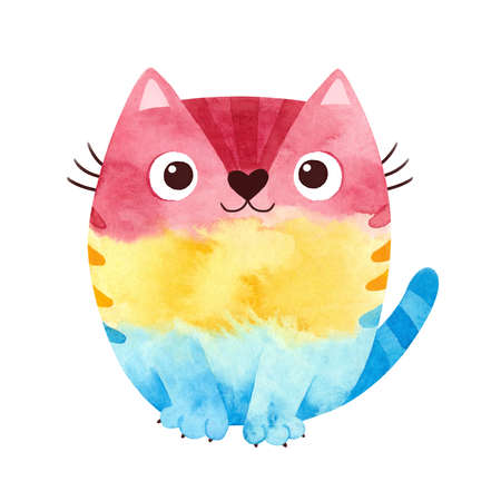Pansexual pride - watercolor clipart. LGBT art, rainbow cat for pansexual stickers, posters, cards. Pan pride