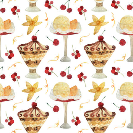 Seamless pattern - watercolor Ice Cream with berries and with physalis on a white background. Product clipart. Premium dessert food, hand drawn illustration. Фото со стока