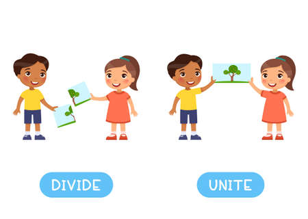 Divide and unite antonyms word card, Opposites concept. Flashcard for English language learning. Little Indian boy and European girl combined the picture, the children separated the image.