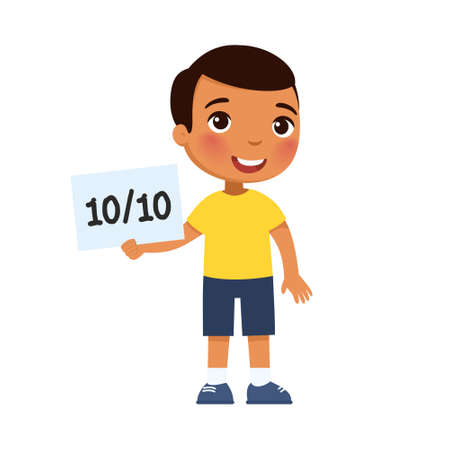 Happy dark skin little boy got the highest grade. The concept of the passed test, exam. Diligent pupil. Cartoon character isolated on white background. Flat vector color illustration.