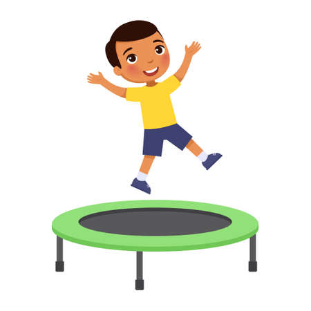 Little boy jumping on trampoline. Happy dark skin sportive child having fun, playing. Preteen cheerful child enjoying game, childhood activity. Isolated cartoon character on white