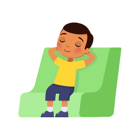 Little dark skin boy closed his eyes and sits in a chair with his hands behind his head. Rest and relaxation concept. Cartoon character isolated on white background.