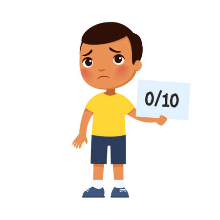 Sad dark skin little boy got the worst grade. The concept of a failed test, exam. Cartoon character isolated on white background. Flat vector color illustration.