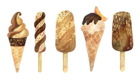 Ice cream watercolor clipart set. Premium frozen Desserts. Food hand drawn illustration.
