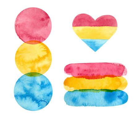Pansexual pride - watercolor clipart.  Art, rainbow clipart for pansexual stickers, posters, cards. Pan pride Фото со стока