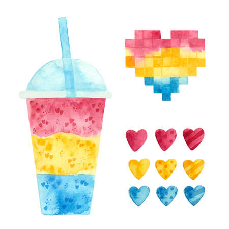 Pansexual pride - watercolor clipart.  Art, rainbow elements for pansexual stickers, posters, cards. Pan pride 스톡 콘텐츠