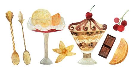Watercolor ice cream clipart. Premium desserts. Hand drawn food illustration.