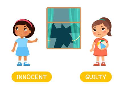 Opposites concept INNOCENT and GUILTY. Word card for English language learning. Flashcard with antonyms Иллюстрация