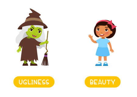 UGLINESS and BEAUTY antonyms word card, Opposites concept. Flashcard for english language learning.  Cute dark skin girl and old ugly witch with green skin 일러스트