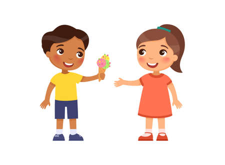 Little boy gives the girl an ice cream. Child friendship psychology. Cartoon characters, Flat vector illustration.