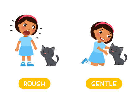 ROUGH and GENTLE antonyms word card, Opposites concept. Flashcard for English language learning. Little dark skin girl and cute kitten Иллюстрация