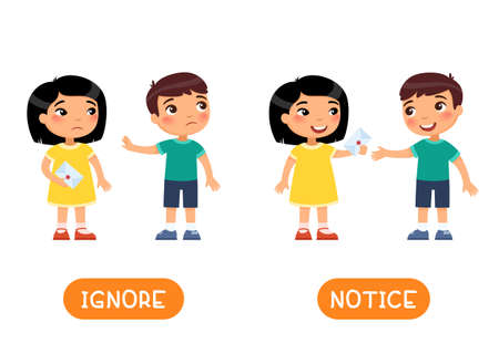 IGNORE and NOTICE antonyms word card with a girl and boy gives a letter to a friend 일러스트