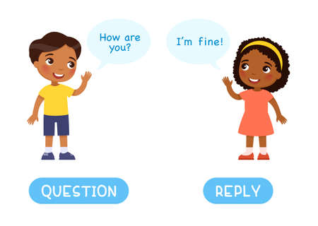 QUESTION and REPLY antonyms word card with a boy asking a question to the girl